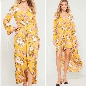 Yellow rose floral maxi dress romper